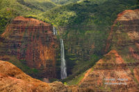 waterfall, Kauai, attraction, Waimea Canyon, state park, Hawaii, Hawaiian, island