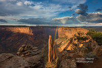 Spider Rock, rainbow, sunset, raining, Canyon De Chelly, AZ, Arizona, sunset, Chinle, Navajo,