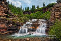 waterfall, San Juan National Forest, Ouray, Colorado, CO, summer, evening, stormy