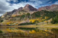 Crater Lake, Maroon Bells - Snowmass Wilderness, Aspen, Colorado, CO,  hike, fall color, White River National Forest