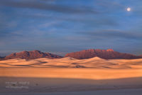White Sands, National Monument, dune, gypsum, light, Cruces, NM, New Mexico, full moon, sunrise, Tularosa Basin, backcountry