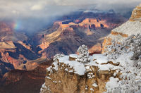 rainbow, snowstorm, grand canyon, national park, winter