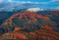 Grand Canyon National Park, AZ, Arizona, snow, winter, Mather Point, blue hour