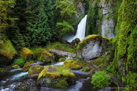 wahclella, waterfall, Columbia river gorge, Oregon, spring, greens