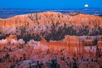 Bryce Canyon National Park, Utah, UT, hoodoos, spires, pinnacles, full moon, sunset, glows, ambient