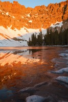 ice, lake, great basin national park, nv, circue, nevada, patterns, line, frozen, reflections, light, sunrise, alpenglow
