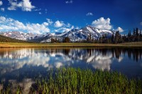 Mount Dana, Yosemite National Park, California, CA, peak, clouds, grass, blue skies, tarn, reflections, glowing, abstrac