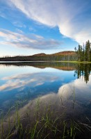 Mallard Lake, sunset, cloud, forest, wildfires, glowing, grass, Yellowstone National Park, Wyoming, WY, reflections