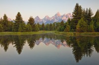 Teton Peaks, soft light, Schwabacher Landing, Grand Teton National Park, Wyoming, WY