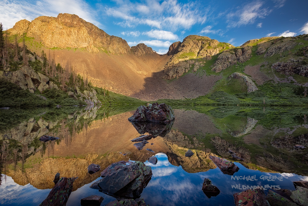 Weminuche, morning, reflections, cliff, rugged, Cave Basin, Weminuche, San Juan Mountains, Bayfield, photo