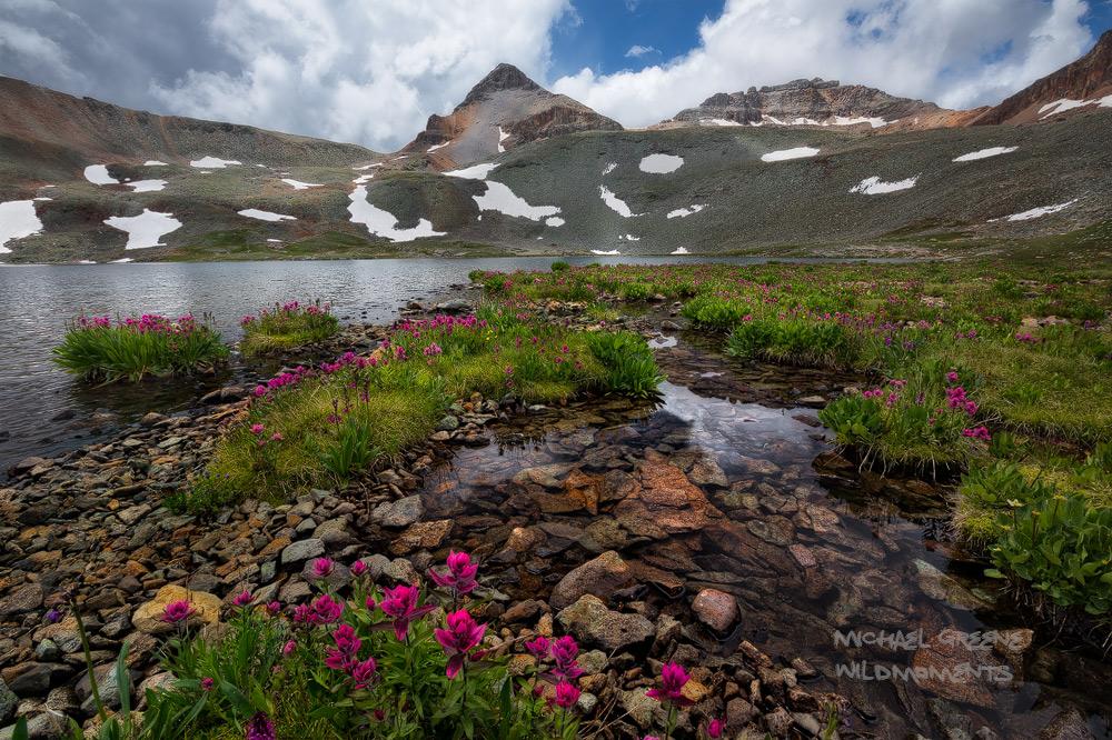 Silverton, Ice Lake Basin, Fuller, Lake, San Juan National Forest, Colorado, CO,  paintbrush, photo