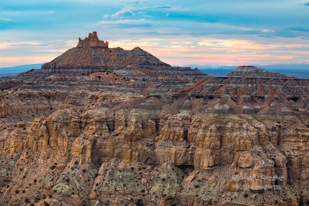 Angel Peak, Farmington, desert, arid, storm light, New Mexico, NM, badlands, Shiprock, scenic area, sunset, summer, light, photo