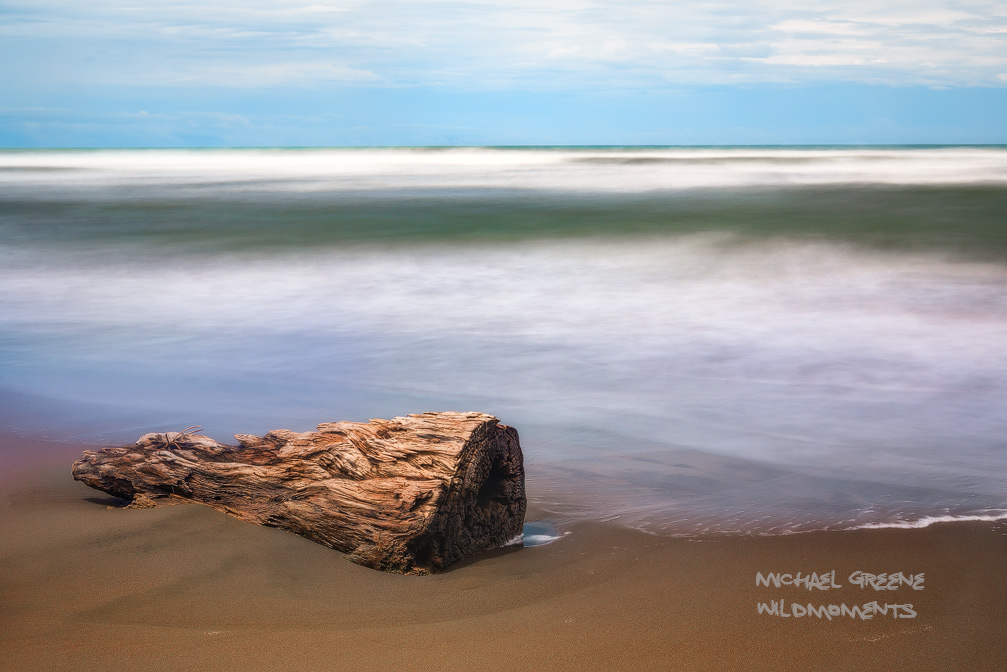 driftwood, sand, time lapse, surf, beach, Limon, Puerto Viejo, Caribbean Sea, Costa Rica, photo