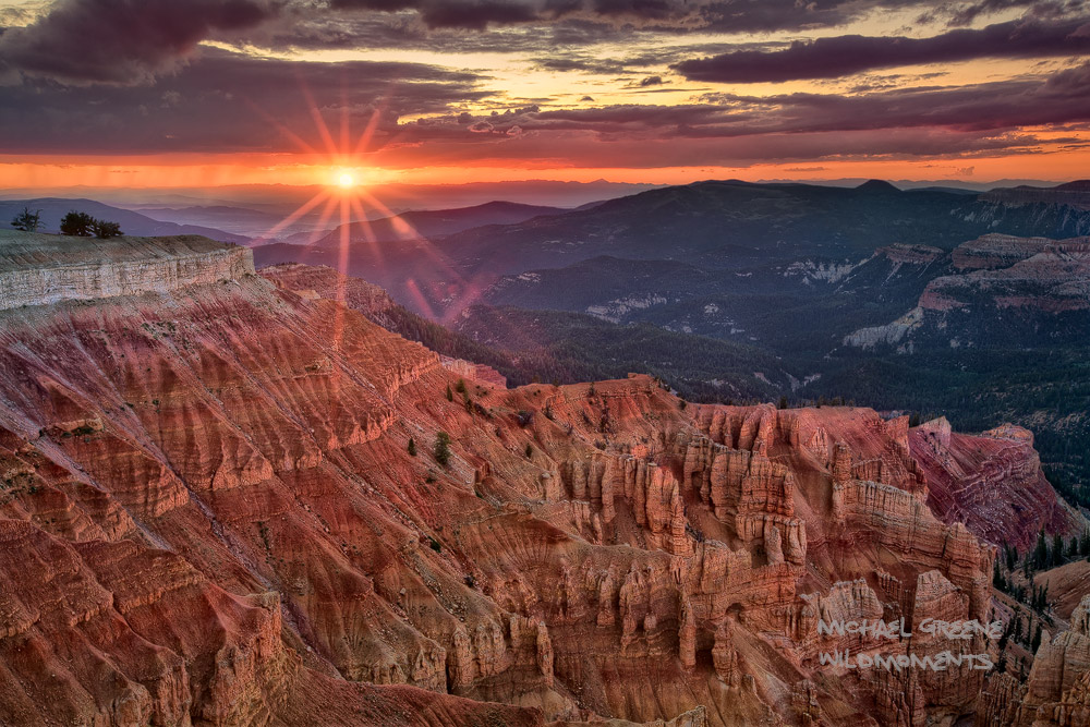 Cedar Breaks, National Monument, Utah, UT, southwest, summer, telephoto, hoodoos, amphitheater, Spectra Point, hike, sunset, Brian Head, sunburst, photo
