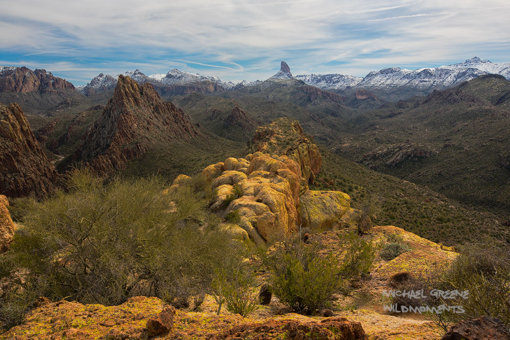 Weaver's Needle, snow-capped, snowstorm, Superstition Mountains, Tonto National Forest, AZ, Arizona, Battleship Mountain , Apache Junction, photo