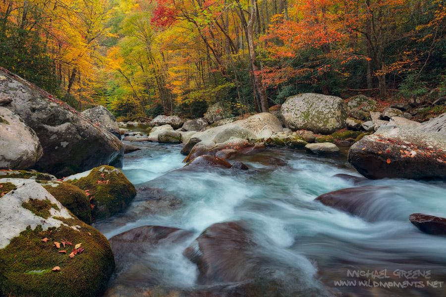 North Carolina, Big Creek, Great Smoky Mountains National Park, fall, autumn, colors, leaves, boulders, photo
