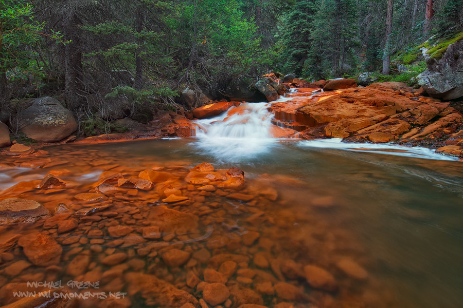 Rock Creek, Weminuche Wilderness, rocks, water, iron, light, photo