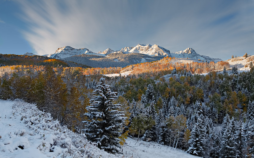 Dallas Divide, San Juan National Forest, sunrise, snow, fall, photo