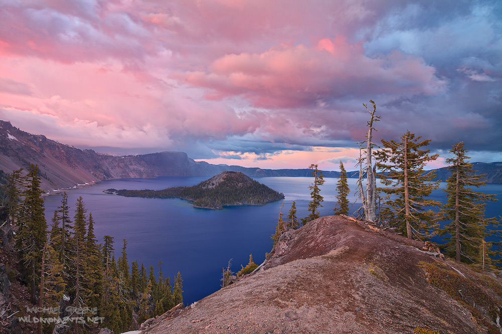 crater lake, OR, Oregon, snowfall, rain, lake, water, photograph, wonder, United States, sunset, photo