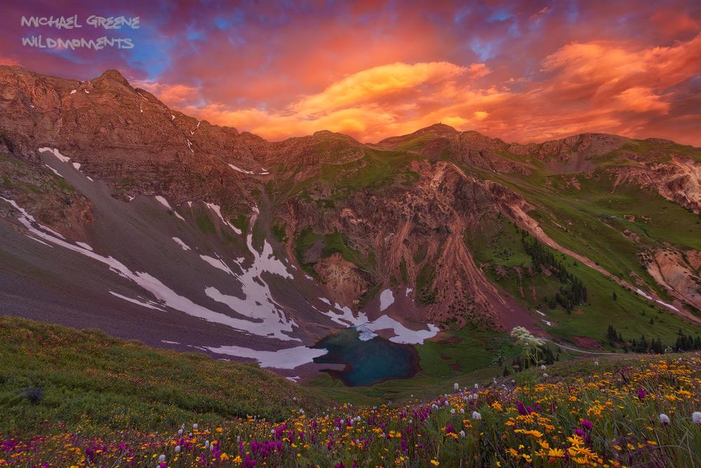Sunrise, amazing, Silverton, lake, Colorado, CO, alpine, San Juan National Forest, San Juan Mountains, hiking, ebook, photographing, photo