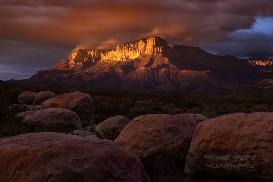 Texas, TX, Guadalupe Mountains, orange, yellow, sunset, dramatic, boulders, autumn, clouds, whisps, glowed, light, photo