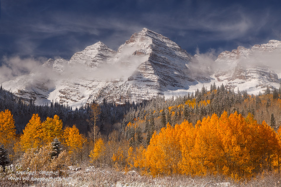 Maroon Bells, aspens, snow, White River National Forest, CO, 14ers, photo