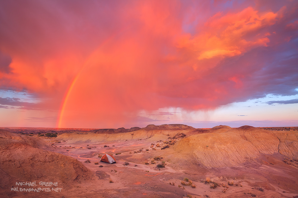NM, New Mexico, tent, Northface, storm, sunset, clouds, Bisti, backpacking, photo