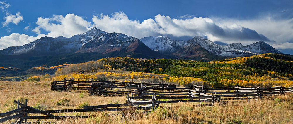 san juan mountains, telluride, co, colorado, pano, panoramic, panorama, storm, peak fall colors, autumn, snow, photo