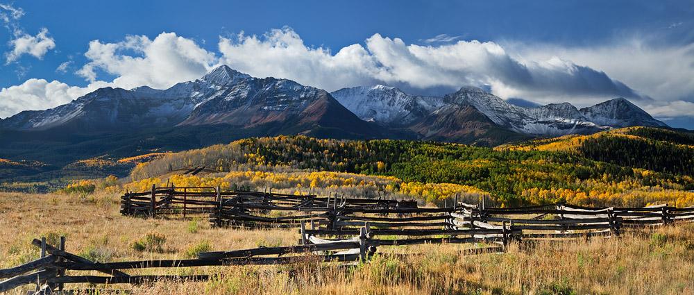 san juan mountains, telluride, co, colorado, pano, panoramic, panorama, storm, peak fall colors, autumn, snow, photo