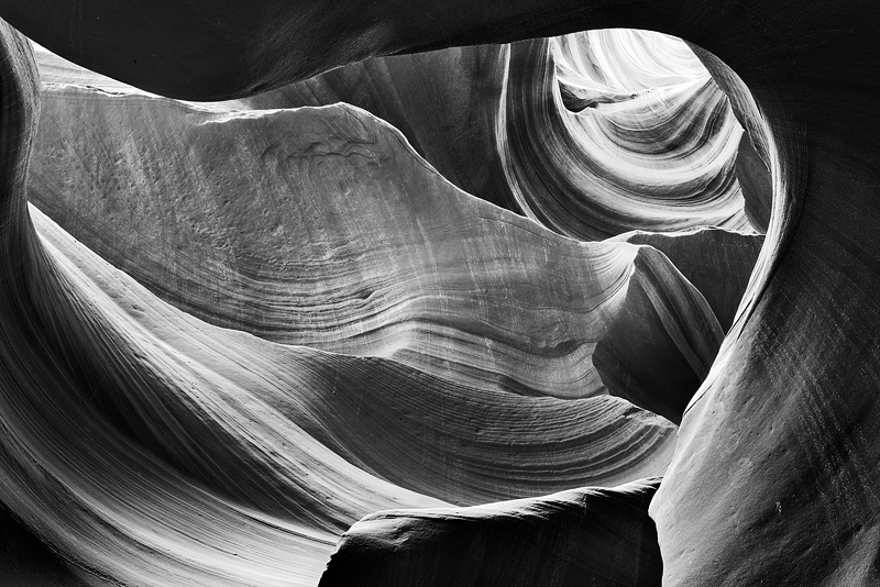 antelope canyon, black and white, arizona, photo
