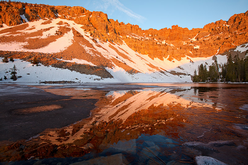 nevada, great basin national park, lake, frozen, ice, backpacking, reflection , photo