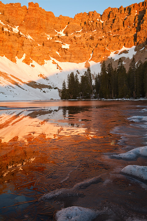 ice, lake, great basin national park, nv, circue, nevada, patterns, line, frozen, reflections, light, sunrise, alpenglow, photo