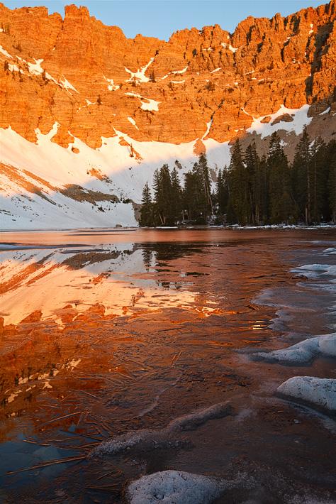 ice, lake, great basin national park, nv, circue, nevada, patterns, line, frozen, reflections, light, sunrise, alpenglow, photo