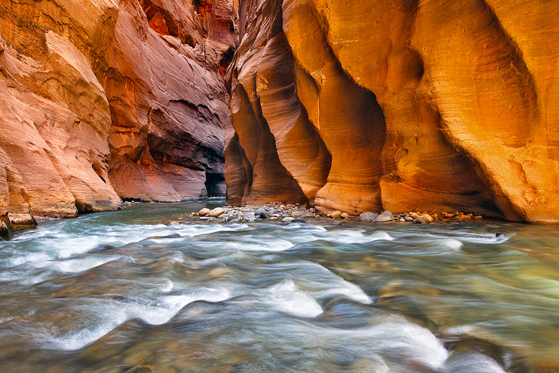 slot canyon, rapids, zion national park, utah, light, sandstone, shutter speed, photo