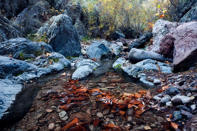 coronado national forest, cave creek, autumn, water, boulders, az, photo