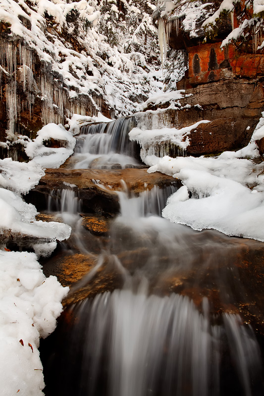 waterfall, CO, Colorado, frozen, snowstorm, autumn, San Juan National Forest, mountains, photo