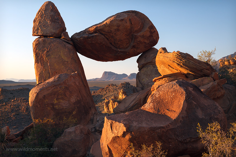 balanced rock, nugent peak, grapevine hills, big bend national park, texas, sunrise, capture, photo