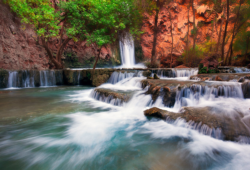 power, color, AZ, Arizona, Havasupai, Mooney Falls, Canyon, Havasu Creek, water, cascading, display, indian reservation,, photo