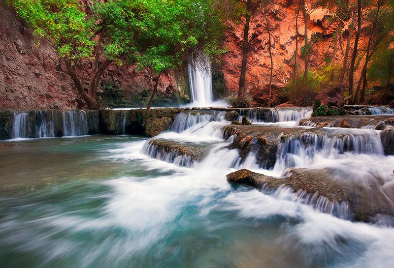 power, color, AZ, Arizona, Havasupai, Mooney Falls, Canyon, Havasu Creek, water, cascading, display, indian reservation,, photo