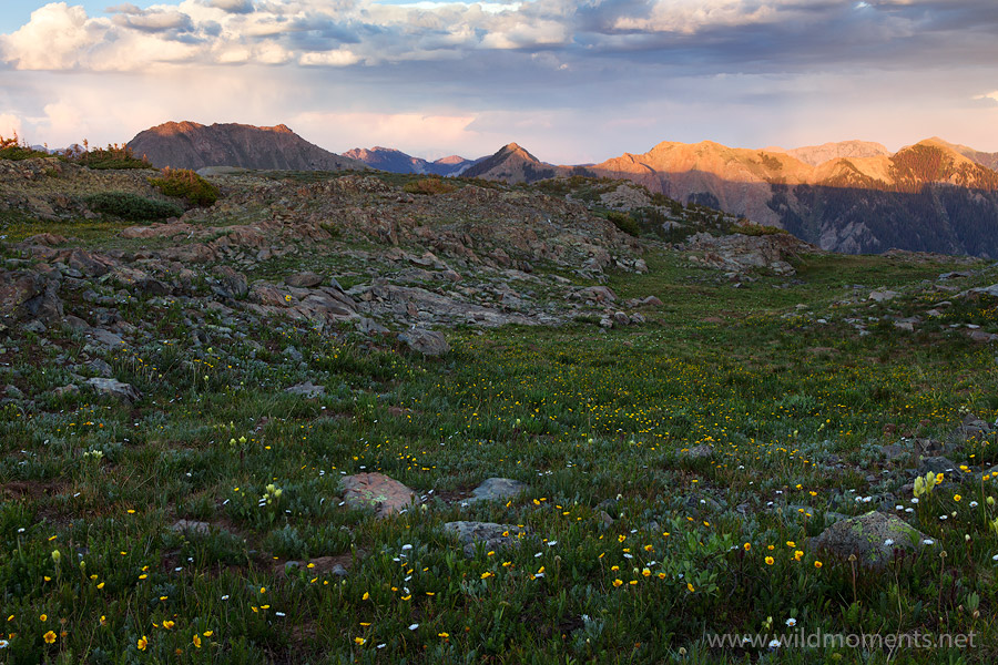 weminuche wilderness, CO, light, evening, peaks, photo