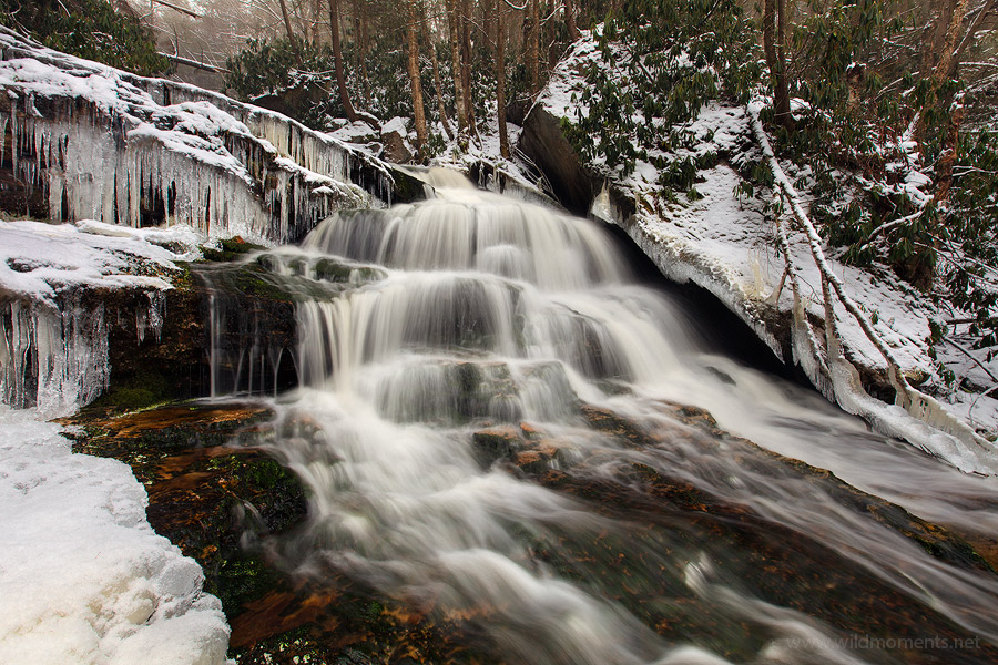 Elakala, snowing, winter, stream, waterfall, Blackwater Falls State Park, photogenic, West Virginia, photo