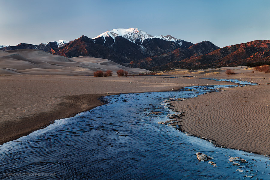 Medano Creek, spring, frozen, image, waters, sunset, Great Sand Dunes National Park, photo