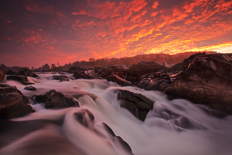 Mather Gorge, Potomac River, Great Falls, Virginia, Maryland, VA, MD, hikers, kayakers, sunrise, fantastic display of li, photo
