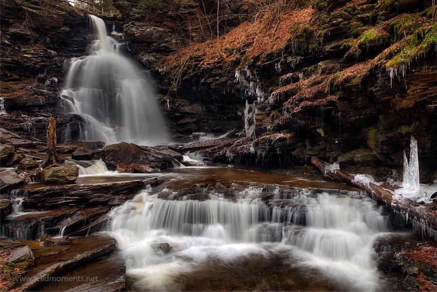Ozone Falls, Ricketts Glen State Park, Pennsylvania, waterfall, snow, sun, Christmas, photo