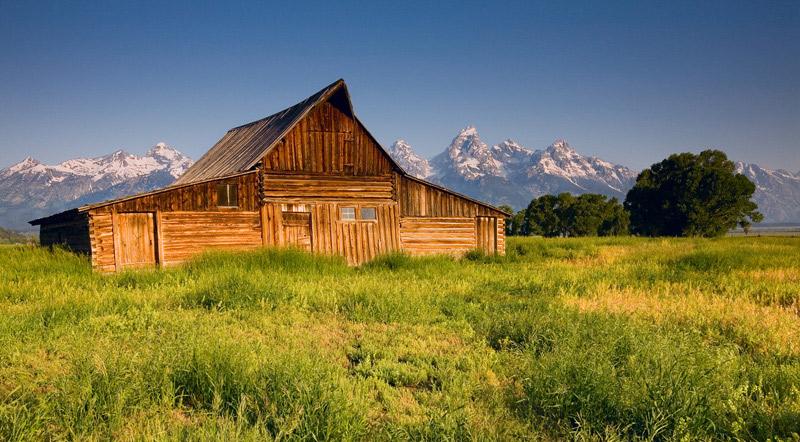 Grand Teton National Park, Wyoming, WY, peaks, July, Mormon Row, classic, warm, rich, colors, snowfall, barn, photo