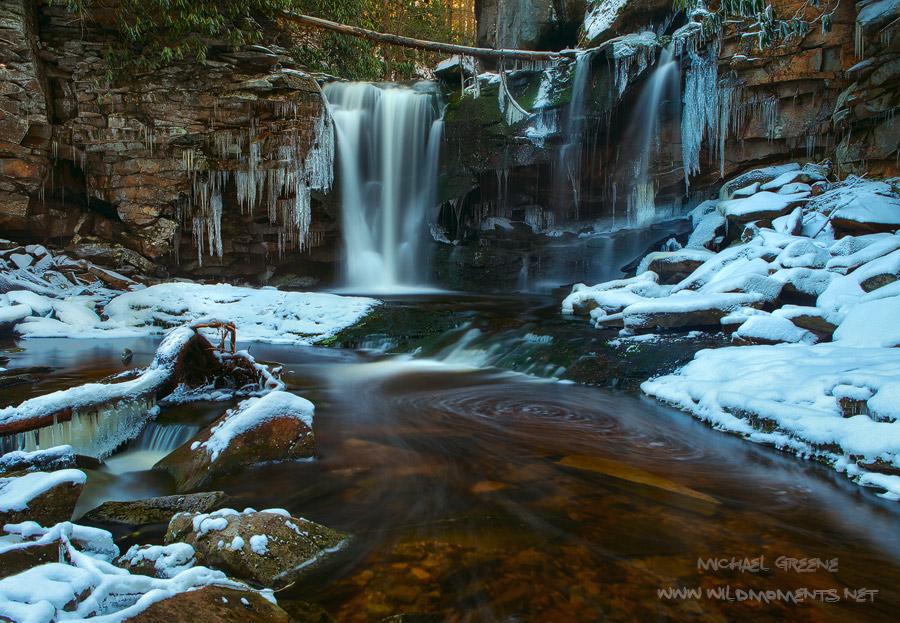 Elakala Falls, Davis, WV, West Virginia, snowfall, water, ice, snow, winter, Blackwater Falls State Park, photo