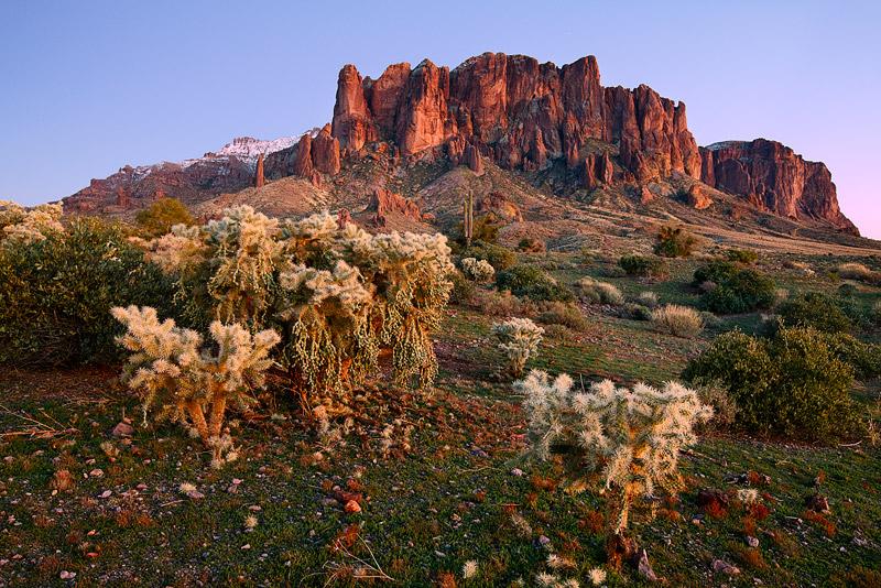 Lost Dutchman State Park, superstition mountains, desert, snow, AZ, Arizona, photo