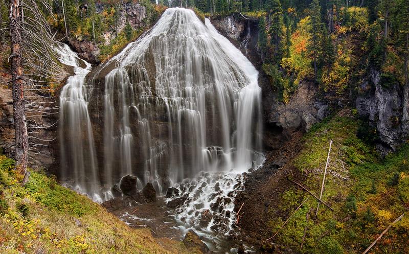 Union Falls, Yellowstone National Park, Yellowstone NP, Wyoming, WY, backcountry, hiking, falls, storm light, waterfall,, photo