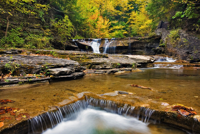gorge, Robert Treman State Park, New York, NY, rain, eerie, fall, rock, water, slick rock, cold, color, photo