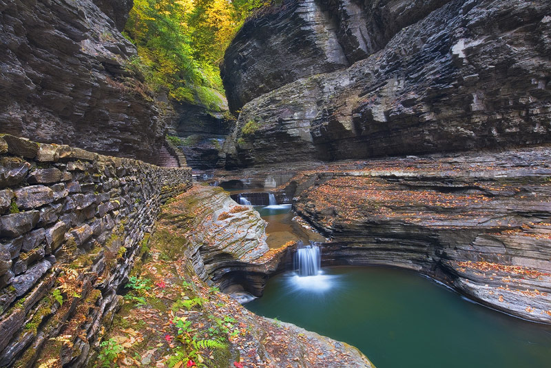 Watkins Glen State Park, NY, New York, color, foliage, trail, leading line, scene, lines, angles, see, North East, photo
